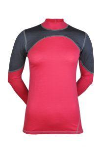 Merino dámské triko přední strana - šedá/růžová