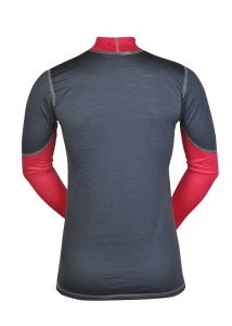 Merino dámské triko zadní strana - šedá/růžová